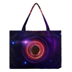 The Little Astronaut on a Tiny Fractal Planet Medium Tote Bag