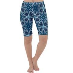 Boho Blue Fancy Tile Pattern Cropped Leggings