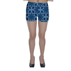 Boho Blue Fancy Tile Pattern Skinny Shorts