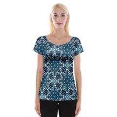 Boho Blue Fancy Tile Pattern Cap Sleeve Tops
