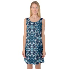 Boho Blue Fancy Tile Pattern Sleeveless Satin Nightdress