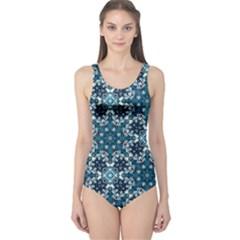 Boho Blue Fancy Tile Pattern One Piece Swimsuit
