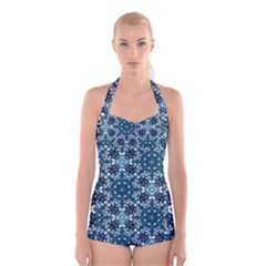Boho Blue Fancy Tile Pattern Boyleg Halter Swimsuit