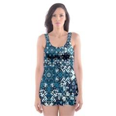 Boho Blue Fancy Tile Pattern Skater Dress Swimsuit