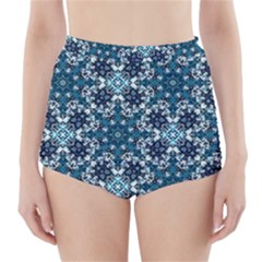 Boho Blue Fancy Tile Pattern High-Waisted Bikini Bottoms