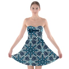 Boho Blue Fancy Tile Pattern Strapless Bra Top Dress