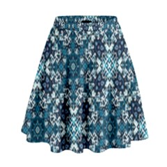 Boho Blue Fancy Tile Pattern High Waist Skirt
