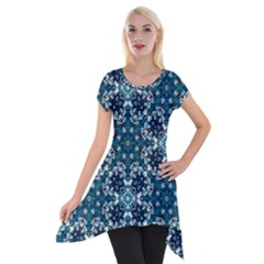 Boho Blue Fancy Tile Pattern Short Sleeve Side Drop Tunic