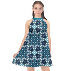 Boho Blue Fancy Tile Pattern Halter Neckline Chiffon Dress