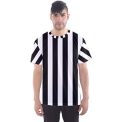 Classic Black and White Football Soccer Referee Stripes Men s Sports Mesh Tee