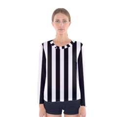 Classic Black and White Football Soccer Referee Stripes Women s Long Sleeve Tee
