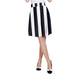 Classic Black and White Football Soccer Referee Stripes A-Line Skirt
