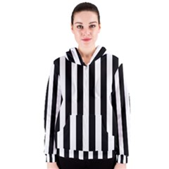 Classic Black and White Football Soccer Referee Stripes Women s Zipper Hoodie