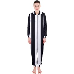 Classic Black And White Football Soccer Referee Stripes Hooded Jumpsuit (ladies)