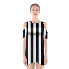 Classic Black and White Football Soccer Referee Stripes Shoulder Cutout One Piece