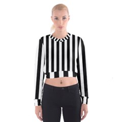 Classic Black and White Football Soccer Referee Stripes Cropped Sweatshirt