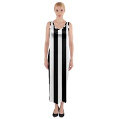 Classic Black and White Football Soccer Referee Stripes Fitted Maxi Dress