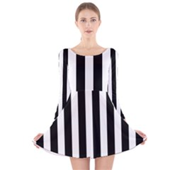 Classic Black and White Football Soccer Referee Stripes Long Sleeve Velvet Skater Dress