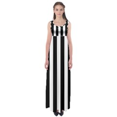 Classic Black and White Football Soccer Referee Stripes Empire Waist Maxi Dress