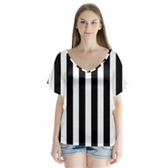 Classic Black and White Football Soccer Referee Stripes Flutter Sleeve Top