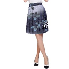 Abstract Black And Gray Tree A-Line Skirt