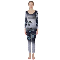 Abstract Black And Gray Tree Long Sleeve Catsuit