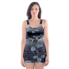 Abstract Black And Gray Tree Skater Dress Swimsuit