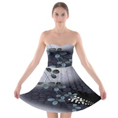 Abstract Black And Gray Tree Strapless Bra Top Dress