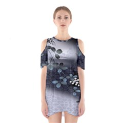 Abstract Black And Gray Tree Shoulder Cutout One Piece