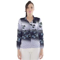 Abstract Black And Gray Tree Wind Breaker (women)
