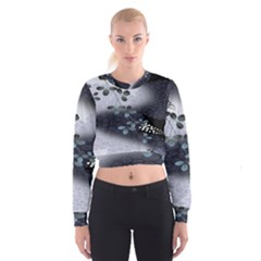 Abstract Black And Gray Tree Cropped Sweatshirt