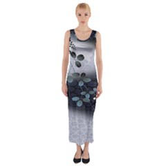 Abstract Black And Gray Tree Fitted Maxi Dress