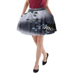 Abstract Black And Gray Tree A Line Pocket Skirt