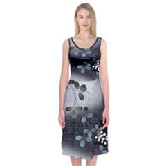 Abstract Black And Gray Tree Midi Sleeveless Dress