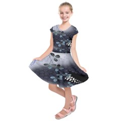 Abstract Black And Gray Tree Kids  Short Sleeve Dress