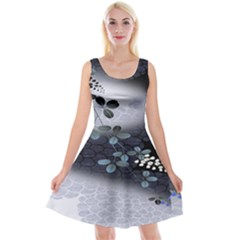 Abstract Black And Gray Tree Reversible Velvet Sleeveless Dress