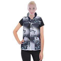 Abstract Black And Gray Tree Women s Button Up Puffer Vest