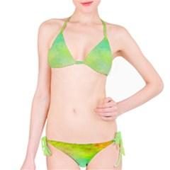 Abstract Yellow Green Oil Bikini Set