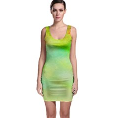 Abstract Yellow Green Oil Sleeveless Bodycon Dress