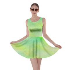 Abstract Yellow Green Oil Skater Dress