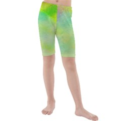 Abstract Yellow Green Oil Kids  Mid Length Swim Shorts