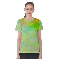 Abstract Yellow Green Oil Women s Cotton Tee