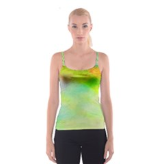 Abstract Yellow Green Oil Spaghetti Strap Top