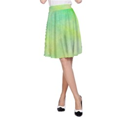 Abstract Yellow Green Oil A-Line Skirt