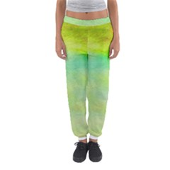 Abstract Yellow Green Oil Women s Jogger Sweatpants