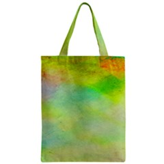 Abstract Yellow Green Oil Zipper Classic Tote Bag