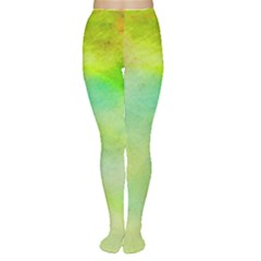 Abstract Yellow Green Oil Women s Tights