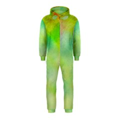 Abstract Yellow Green Oil Hooded Jumpsuit (Kids)