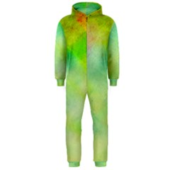 Abstract Yellow Green Oil Hooded Jumpsuit (men)