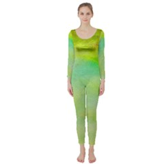Abstract Yellow Green Oil Long Sleeve Catsuit